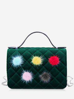 Pompom Quilted Chain Crossbody Bag - Green