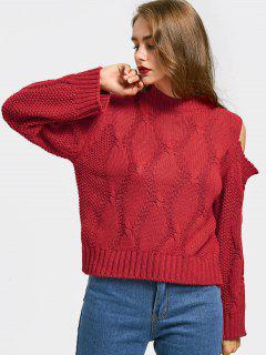 Einfacher Pullover Mit Kalter Schulter - Rot