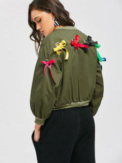 Zip Up Bowknot Bomber Jacket - Army Green S