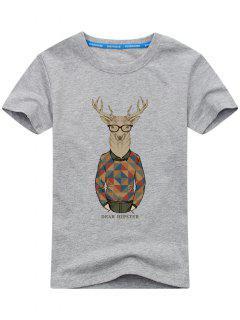 Short Sleeve Cartoon Print T-shirt - Gray Xl