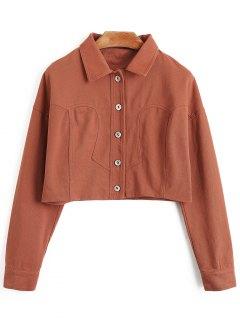 Denim Crop Jacket - Brick-red