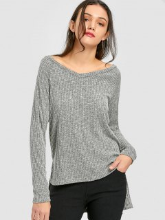 Heathered Tunic Sweater - Feather Gray S