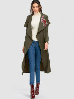 Wrapped Flower Applique Trench Coat - Army Green S