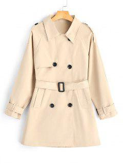Double-breasted Belted Skirted Trench Coat - Khaki M
