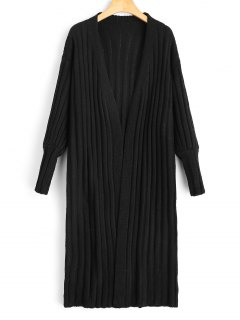 Longline Open Front Knit Cardigan - Black