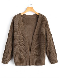 Cable Knit Sleeve Open Front Cardigan - Brown