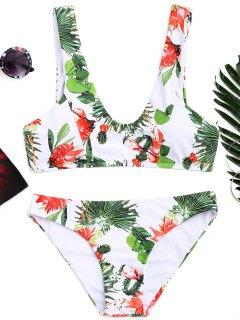 Ensemble Bikini Avec Col Arrondi à Imprimé Feuilles  - Blanc S