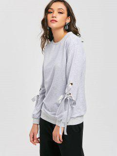 Metallic Rings Lace Up Sweatshirt - Light Gray S