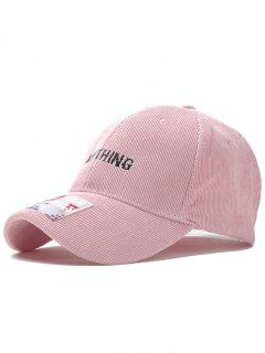 Anything Pattern Embroidery Corduroy Baseball Hat - Pink