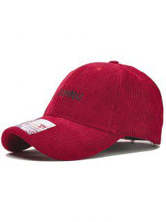 Anything Pattern Embroidery Corduroy Baseball Hat - Red