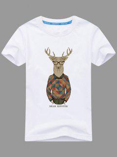 Short Sleeve Cartoon Print T-shirt - White 3xl