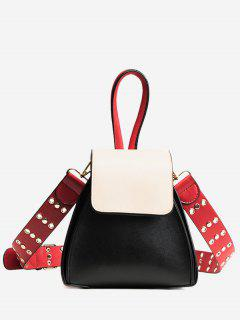 Contrasting Color Rivets Crossbody Bag - Black