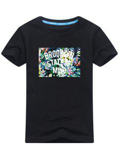 Tropical Print Short Sleeve T-shirt - Black 2xl