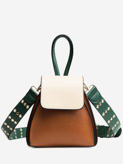 Contrasting Color Rivets Crossbody Bag - Brown