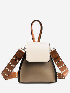 Contrasting Color Rivets Crossbody Bag - Khaki