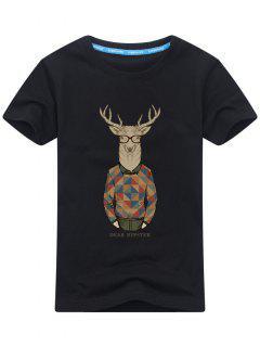 Short Sleeve Cartoon Print T-shirt - Black 2xl