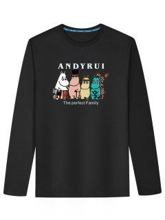 Long Sleeve Cartoon Print T-shirt - Black L