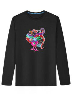 Long Sleeve Cartoon Chicken Print T-shirt - Black L