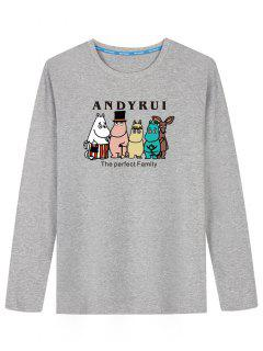 Long Sleeve Cartoon Print T-shirt - Gray L