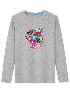 Long Sleeve Cartoon Chicken Print T-shirt - Gray 2xl