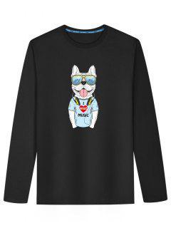 Cute Dog Print Long Sleeve T-shirt - Black 2xl