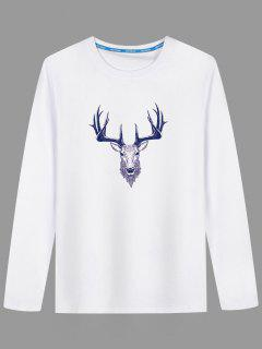 Long Sleeve Deer Head Print T-shirt - White 5xl
