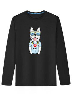 Cute Dog Print Long Sleeve T-shirt - Black L