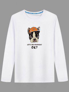 Cartoon Dog Long Sleeve T-shirt - White 3xl