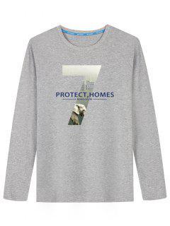 Grafik Schützen Sie Zuhause-Druck-T-Shirt - Grau L