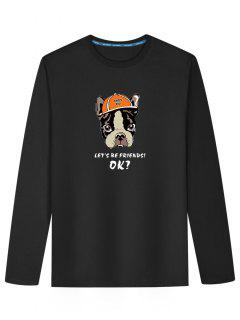 Cartoon Dog Long Sleeve T-shirt - Black L