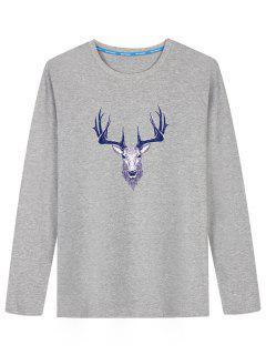 Long Sleeve Deer Head Print T-shirt - Gray 2xl