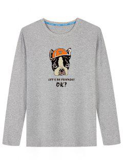 Cartoon Dog Long Sleeve T-shirt - Gray L