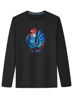 Long Sleeve Chicken Print T-shirt - Black 2xl