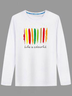 Graphic Colorful Print Long Sleeve T-shirt - White L