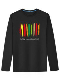 Grafisches Buntes Druck-langes Hülsen-T-Shirt - Schwarz 4xl