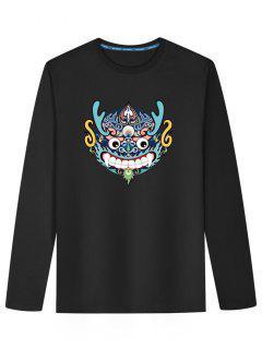Chinese Dragon Head Long Sleeve T-shirt - Black L