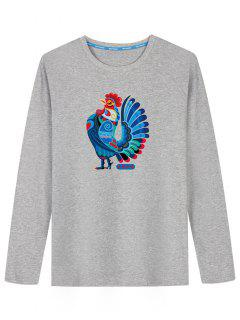 Long Sleeve Chicken Print T-shirt - Gray L