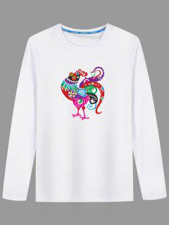 Long Sleeve Cartoon Chicken Print T-shirt - White 3xl