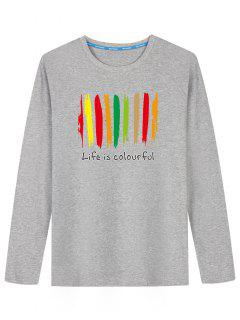Grafisches Buntes Druck-langes Hülsen-T-Shirt - Grau 5xl