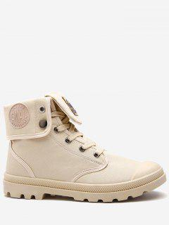 Round Toe Folded Canvas Ankle Boots - Apricot 40