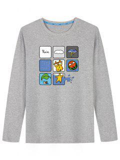 Camiseta De Manga Larga Con Estampado De Lluvia - Gris L