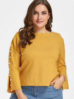 Beaded Plus Size Top - Mustard 2xl