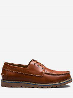 Whipstitch Wingtip Scallop Casual Shoes - Brown 38