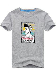 Figure Print Short Sleeve T-shirt - Gray 2xl