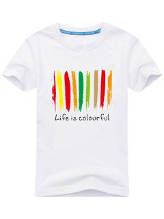 Colorful Print Short Sleeve T-shirt - White L