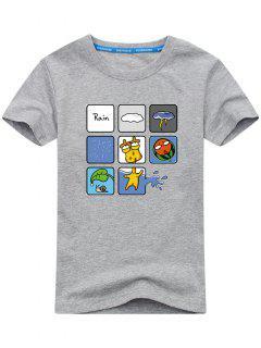 Kurzarm Regnerisches Druck T-Shirt - Grau L