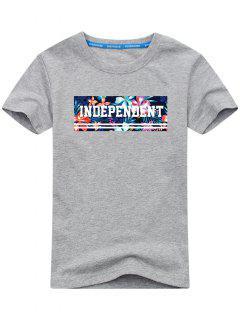 Short Sleeve Floral T-shirt - Gray 2xl