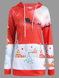 Noël Snowy Night View Sweat à Capuche - Rouge 2xl