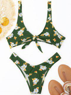 Vorn Geknoteter Bikini-Set In Stringform - Grün S