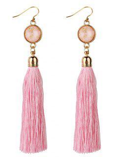 Vintage Boho Style Long Tassel Drop Earrings - Pink